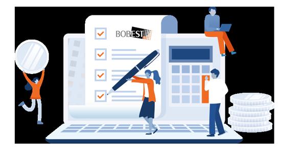 Illustratie administratie met boekhouders en belastingadviseurs